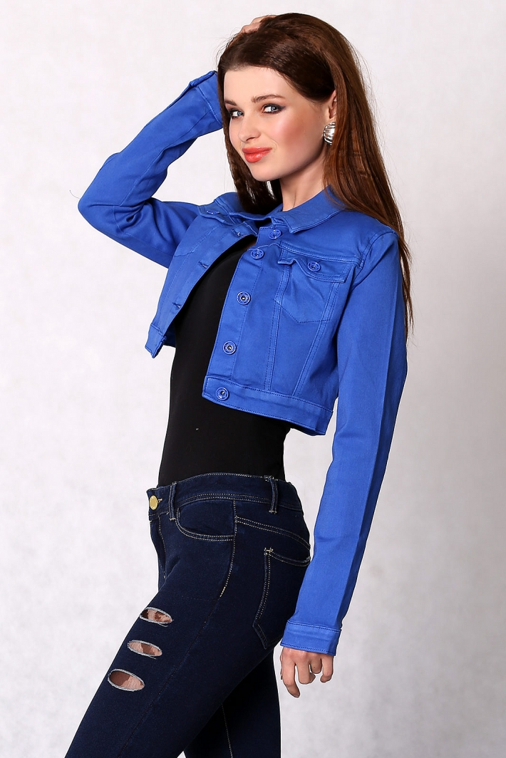 3616-2 Jeans jacket buttoned, short - blue - Jacket and Coat - For ...