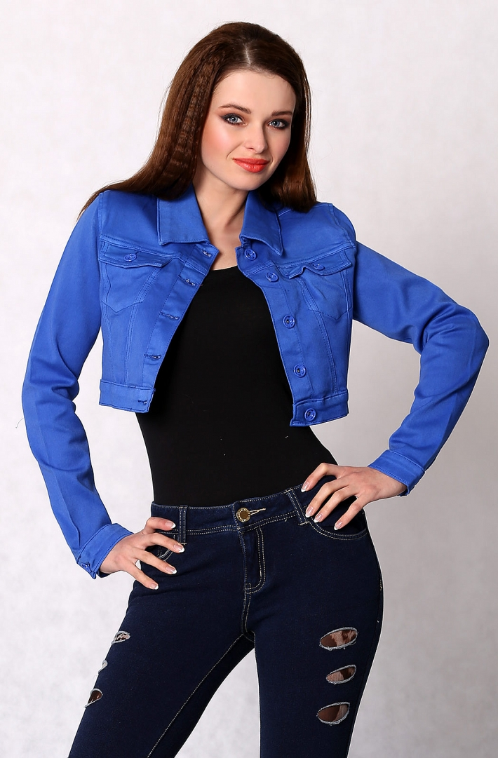 3616-2 Jeans jacket buttoned short - blue - Jacket and Coat - For