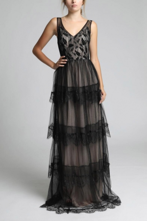 SOKY SOKA  DRESS BLACK-NUDE 62002-2