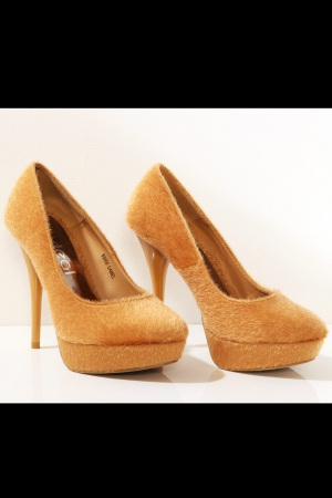 3117-2 High heels and platform with a teddy bear - beige