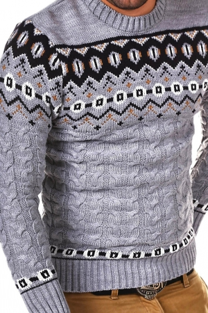 NORWEGIAN MALE SWEATER CRSM - GREY 9508-2