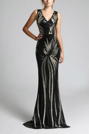 SOKY SOKA  DRESS BLACK/GOLD 63001-1