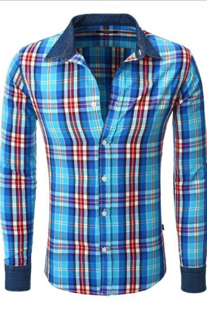 CHECKERED SHIRT CRSM - NAVY BLUE 9505-1