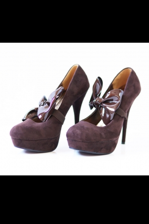 2519-1 High-heeled pumps with bow on elastic band - Brown