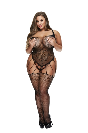 BACI BODYSTOCKING BLACK PATTERNED 50008-41